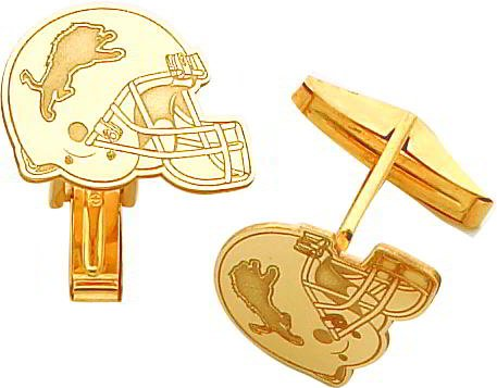 14K Gold NFL Detroit Lions Football Helmet Cuff Links