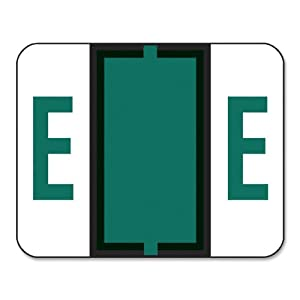 Smead BCCR Bar-Style Color-Coded Alphabetic Label, E, Label Roll, Dark Green, 500 labels per Roll, (67075)