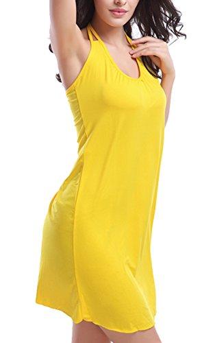 FASHION TTI Womens Beach Tankini Bikini Swimsuit Dress (Large, Yellow)