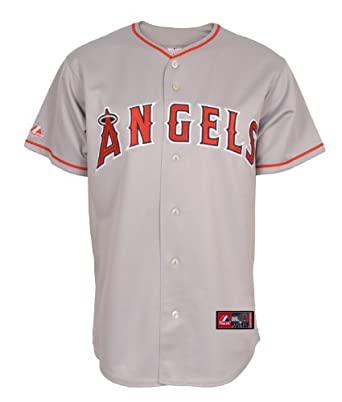 MLB Los Angeles Angels Mike Scioscia Road Gray Short Sleeve 6 Button Synthetic... by Majestic