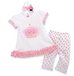 Mud Pie Tiny Dancer Cupcake Tunic And Leggings Set, Pink/White, 12 18 Months