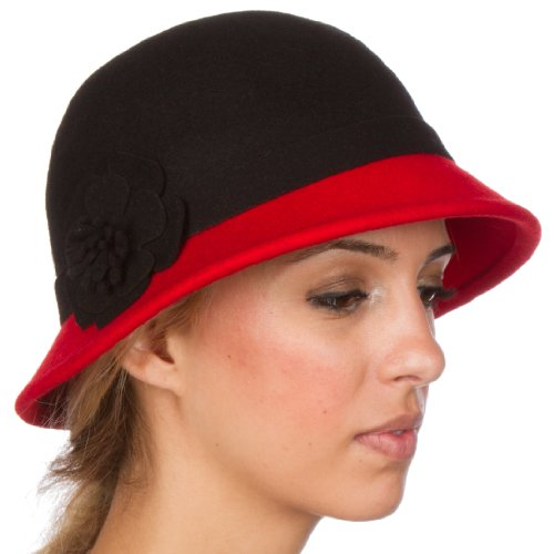 Sakkas 60M Sophia Vintage Style Wool Cloche Hat - Black / Red - One Size