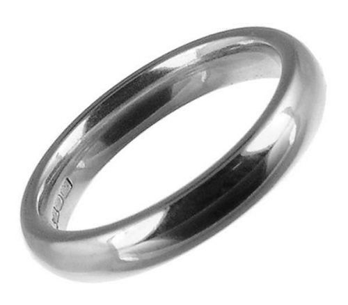 Ladies' Wedding Ring, 18 Carat White Gold, Medium Court Shape, 3mm Band Width