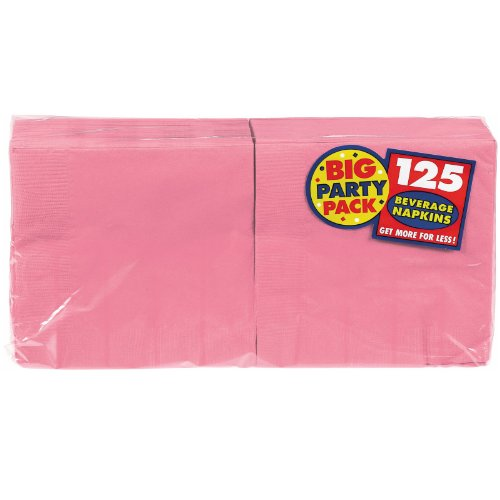 Amscan Big Party Pack 125 Count Beverage Napkins, New Pink