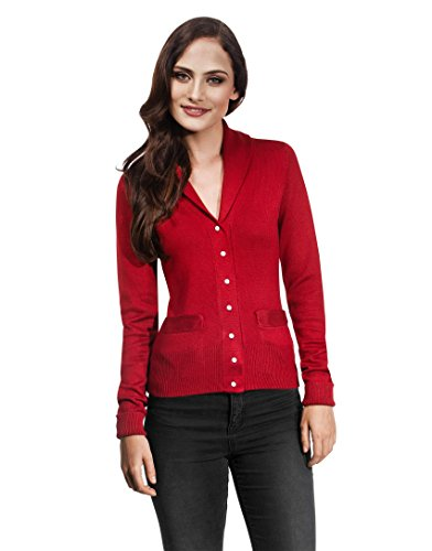 VB da donna Cardigan con collo sciallato e perla Bottoni wine-red Medium