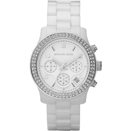 Women'S White Ceramic Link Bracelet Quartz Chronograph Crystal Mk5188 front-611050