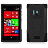 Aimo Wireless Nokia Lumia 928 Hybrid Double Layer Heavy Duty Armor Case with Built-in Kickstand - Retail Packaging - Black