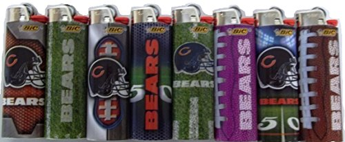 Bic Lighters Chicago Bears NFL Officially Licensed Full Size 8pc Set (Chicago Bears Lighter compare prices)