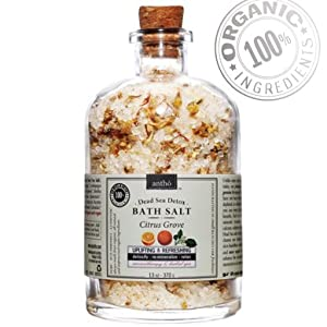 Organic Bath Salt - Therapeutic Dead Sea Mineral Soak - Citrus 13oz from Antho Organic