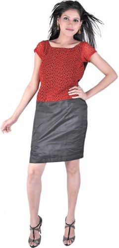 Exotic India Garnet-Red And Black Tunic Dress With Side S - Garnet-Red And Black