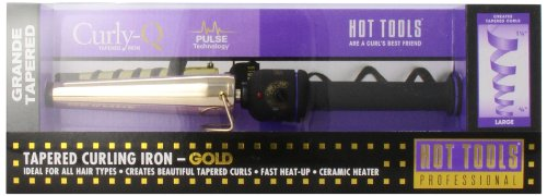 HOT TOOLS HTG1852 Grande Tapered Curling Iron, Gold / Black, 3/4 Inch to 1 1/4 Inches