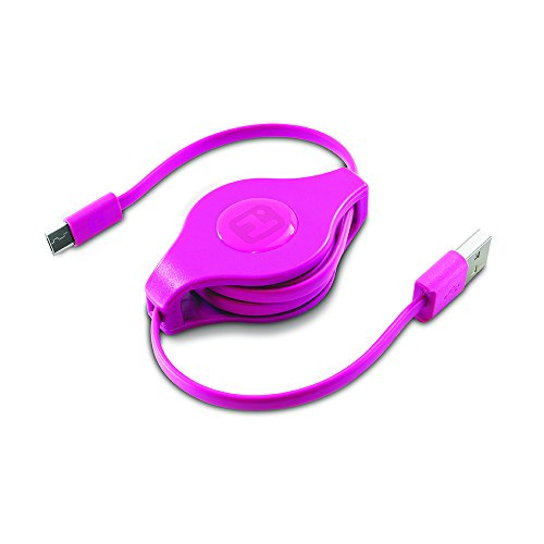 IHome | Retractable 2-foot Micro USB 2.0 Charge & Sync Cable - Pink (See More Colors)