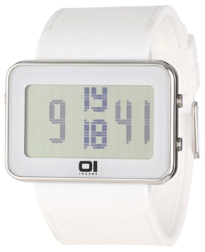01Theone Unisex Ipld104-3Wh Ip Stainless Steel Watch With White Band