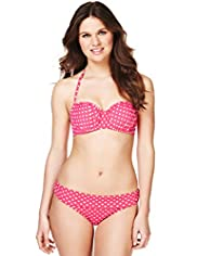 Halterneck Spotted Underwired Bandeau Bikini Top