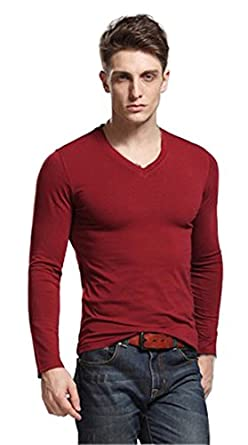Men 39 s sexy v neck tight base shirt fashionable long sleeve for Tight collar t shirts