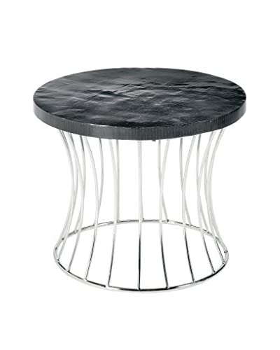 Home Philosophy Metal Caged Fluted Round Table, Black/Silver