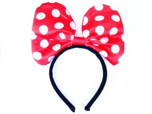 Cute Satin Minnie Mouse Headband In Red With White Dots front-479342