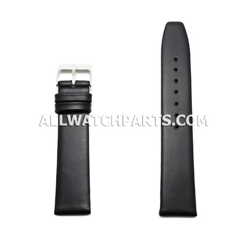 19Mm Black Smooth & Flat Style Genuine Leather Band