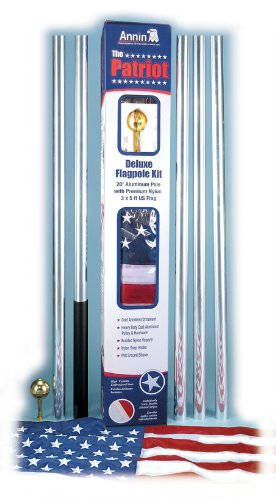 Annin 20 Foot Aluminum Flag Pole with a 3 by 5 Foot Nylon Flag & Hardware.