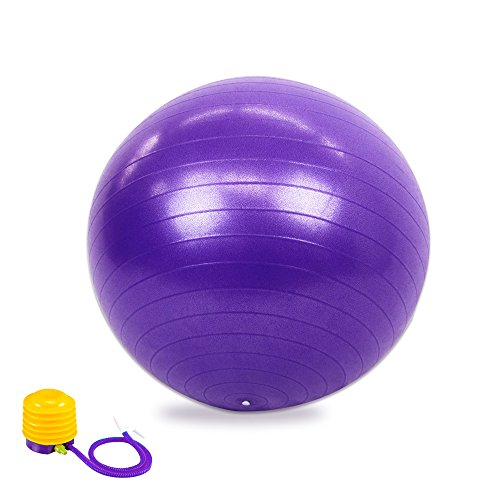 55cm Exercise Ball with Air Pump for Yoga, Pilates Fitness Ball, Purple
