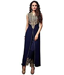 Sheryl Trendz Blue Color Semi Stiched Gown