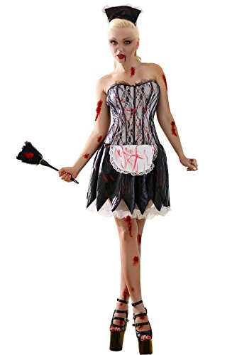 Ninimour- Women's French Maid Mayhem Zombie Living Dead Halloween Costume