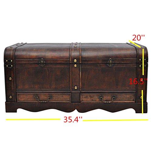 Large Wood Treasure Storage w/ Drawer Blanket Steamer Chest Vintage Coffee Table 1