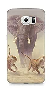 Amez designer printed 3d premium high quality back case cover for Samsung Galaxy S6 (Elephant n Tigers)