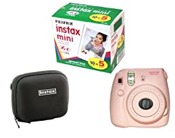Fujifilm Instax Mini 8 Pink Camera + 50 Mini Images + Case
