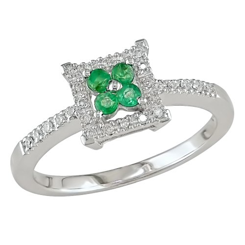 10k White Gold, Diamond and Emerald Ring, (0.008 cttw, GH Color, I1-I2 Clarity)
