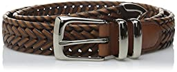 Perry Ellis Men\'s Portfolio Braided Belt, Luggage, 38