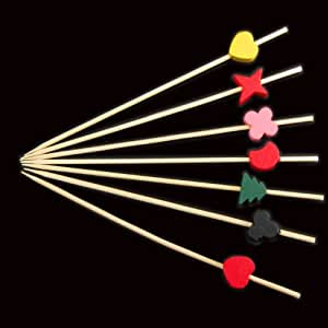 12cm Shapes Bamboo Wooden Skewers x 100