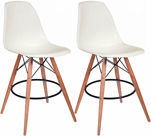 Mod Made Mid Century Modern Armless Paris Tower Barstool Chair with Natural Wood Legs for Bar or Kitchen- White (Set of 2)