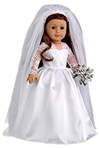 Princess Kate Royal Wedding Dress with White Leather Shoes and Tulle Veil - 18 Inch Doll Clothes