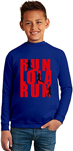 run lola run movie poster Superb Quality Boys Sweater by TRUE FANS APPAREL - 50% Cotton & 50% Polyester- Set-In Sleeves- Open End Yarn- Unisex for Boys and Girls 8-9 years