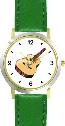 buy Acoustic Or Acoustical Guitar - Musical Instrument Music Theme - Watchbuddy® Deluxe Two-Tone Theme Watch - Arabic Numbers - Green Leather Strap-Size-Large ( Men'S Size Or Jumbo Women'S Size )