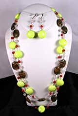 Fashion Jewelry Set - Earth Joy Pastel Stone Necklace with Matching Earring Set - Earring and Necklace Set