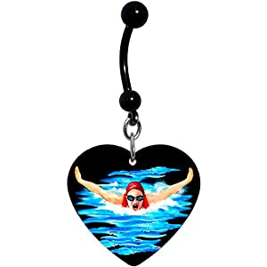 Black Heart Swimming Belly Ring