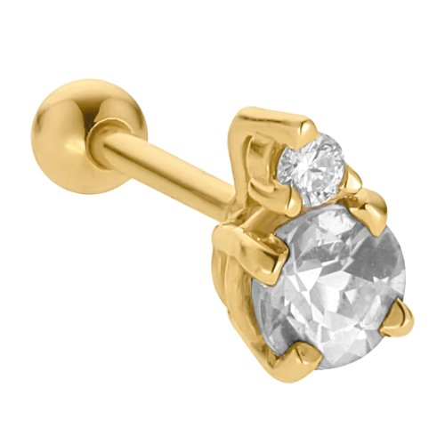 3.5mm Cubic Zirconia Accented 14K Yellow Gold Cartilage Stud Earring