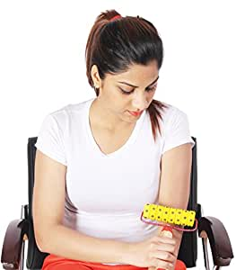 Super India Store Magnetic n Acupressure Pyramidal Handy Body Roller with FREE Power Ball, Power Thumb, Su Jok Ring & Reflexology Chart for Hand & Feet Worth RS. 176/
