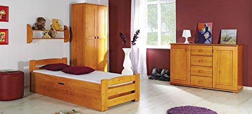 Einzelbett aus Kiefernholz LOLA – mit Stauraum für Bettwäsche und Lattenrost, Massivholz ohne Matraze (kiefer in Farbe nuss)