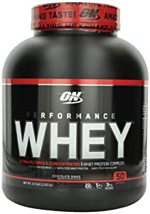 Optimum Nutrition Performance Whey Diet Supplements, Chocolate Shake, 4.3 Pound