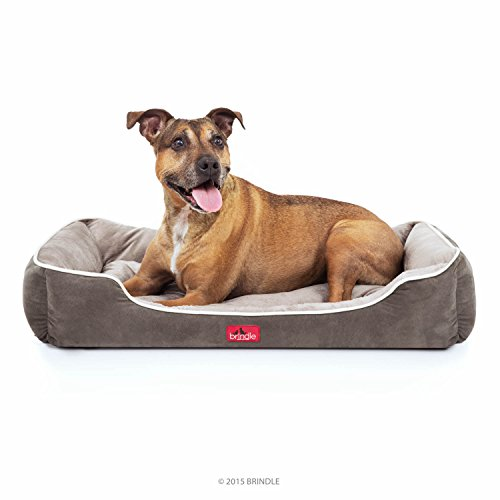 BRINDLE-Washable-Rectangle-Dog-Bed-with-Raised-Bolster-Design-Tan