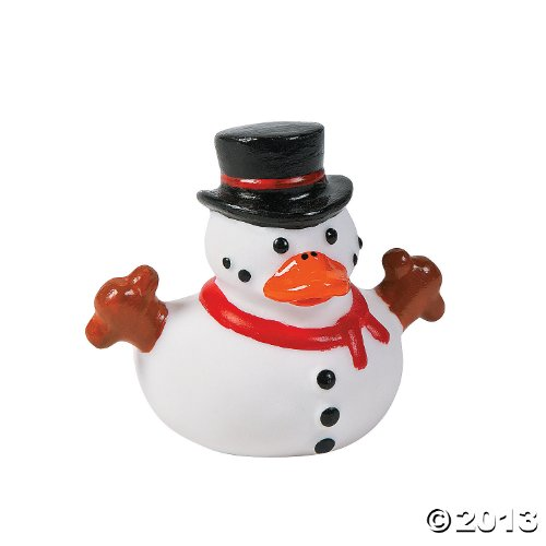 Snowman Rubber Ducky Duckies Ducks - 12 ct by Fun Express - 1