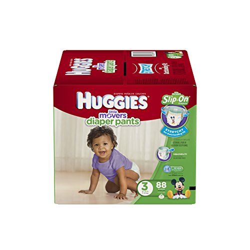 HUGGIES Little Movers Slip-On Diaper Pants, Size 3, 88 Count (Huggies Size 3 Diapers compare prices)
