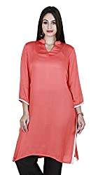 Eessence Women's Silk Kurta (LBFK05_OR_L, Orange, L)