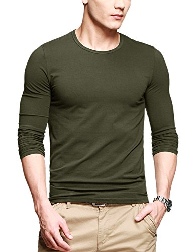 Match K|G Mens Basic T-shirts Series Crewneck/Long Sleeve/#Stretch Fit #ST621(US S (Tag size L),Army green)