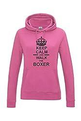 Keep Calm & Walk The Boxer Dog Womens Hooded Sweatshirt