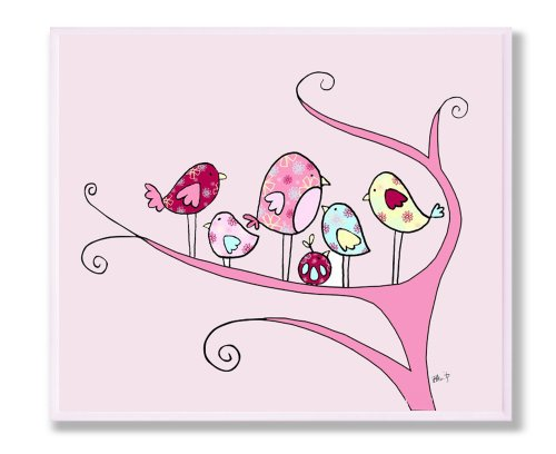 The Kids Room by Stupell Chickadee Family on a Branch Rectangle Wall Art