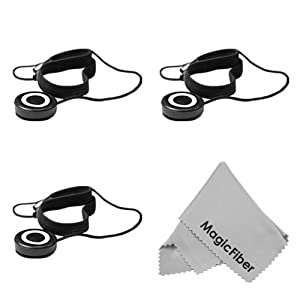 Lens Cap Keeper Kit For DSLR Cameras - Includes: 3 Pcs Lens Cap Keeper Holder With Elastic Band + Premium MagicFiber Microfiber Cleaning Cloth